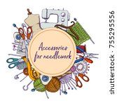 set of tools for needlework and ...   Shutterstock .eps vector #755295556