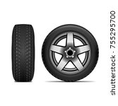 realistic summer tire isolated... | Shutterstock .eps vector #755295700