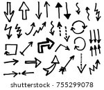 doodle vector arrows. isolated. ... | Shutterstock .eps vector #755299078