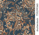 paisley seamless pattern with... | Shutterstock .eps vector #755299360