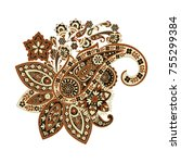 paisley ethnic isolated... | Shutterstock .eps vector #755299384