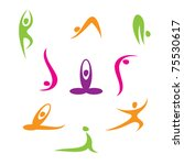 yoga   a set of icons   Shutterstock .eps vector #75530617