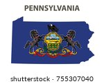 flag and map of pennsylvania....   Shutterstock .eps vector #755307040