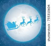 christmas card with santa claus.... | Shutterstock .eps vector #755310604