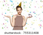 young adorable woman with... | Shutterstock . vector #755311408