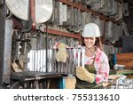 young woman as blue collar... | Shutterstock . vector #755313610