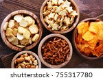 salty snacks. pretzels  chips ... | Shutterstock . vector #755317780