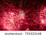 Explosions Of Red Fireworks On...