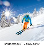 skier skiing downhill during... | Shutterstock . vector #755325340