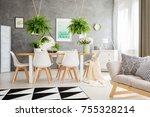 patterned pillows on grey sofa... | Shutterstock . vector #755328214