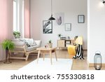 pink pastel curtains in living... | Shutterstock . vector #755330818