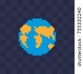 knitted earth. web site icon.... | Shutterstock .eps vector #755332240
