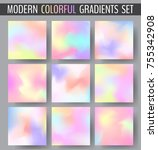 set of various colorful blurry... | Shutterstock .eps vector #755342908