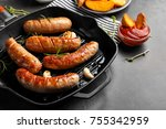 grill pan with delicious... | Shutterstock . vector #755342959
