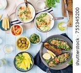 set of healthy vegetarian food  ... | Shutterstock . vector #755345200
