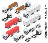 set of trucks in an isometric... | Shutterstock .eps vector #755350174