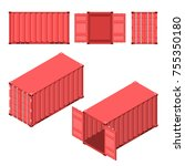 the red shipping container.... | Shutterstock .eps vector #755350180