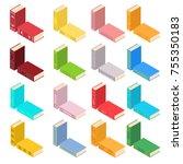set of books in an isometric... | Shutterstock .eps vector #755350183