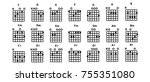 set of vector guitar chords.tab.... | Shutterstock .eps vector #755351080