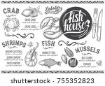 seafood menu for restaurant and ... | Shutterstock .eps vector #755352823