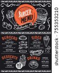 burger food menu for restaurant ... | Shutterstock .eps vector #755353210