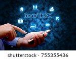 insurance technology  insurtech ...   Shutterstock . vector #755355436