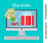shop online concept with red... | Shutterstock .eps vector #755356090