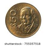 50 pesos  benito juarez  coin... | Shutterstock . vector #755357518