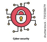 cyber security vector icon | Shutterstock .eps vector #755358079