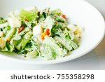 grilled caesar salad with fresh ... | Shutterstock . vector #755358298