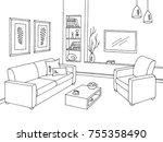 living room graphic black white ... | Shutterstock .eps vector #755358490