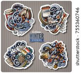 set of winter season cartoon... | Shutterstock .eps vector #755360746