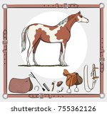 horse and riding tack tools in... | Shutterstock .eps vector #755362126