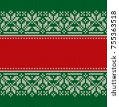 christmas design knitted... | Shutterstock .eps vector #755363518