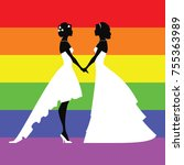 wedding silhouettes of lesbians.... | Shutterstock .eps vector #755363989