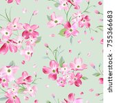 blooming spring flowers pattern ... | Shutterstock .eps vector #755366683