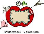 label sticker of love red apple ...   Shutterstock .eps vector #755367388