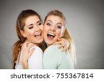 two happy friends women hugging ...   Shutterstock . vector #755367814