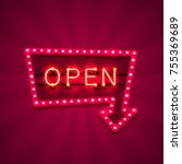 Neon Sign With Text Open Arrow  ...