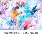 bright artistic splashes.... | Shutterstock . vector #755370910