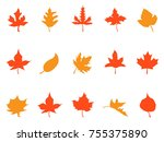 color autumn leaves patterns... | Shutterstock .eps vector #755375890