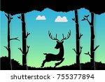 silhouette reindeer art design... | Shutterstock .eps vector #755377894