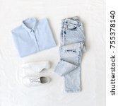 light blue shirt  ripped... | Shutterstock . vector #755378140