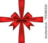 red gift bow and ribbon ...   Shutterstock .eps vector #755380333