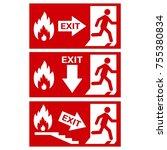 vector. exit sign. emergency... | Shutterstock .eps vector #755380834