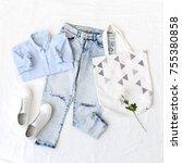 light blue shirt  ripped... | Shutterstock . vector #755380858