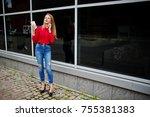 portrait of a beautiful woman... | Shutterstock . vector #755381383