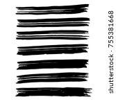 brush stroke set. background. | Shutterstock .eps vector #755381668