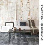 old wallpaper living room... | Shutterstock . vector #755382916