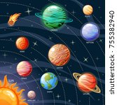 planets of the solar system.... | Shutterstock .eps vector #755382940
